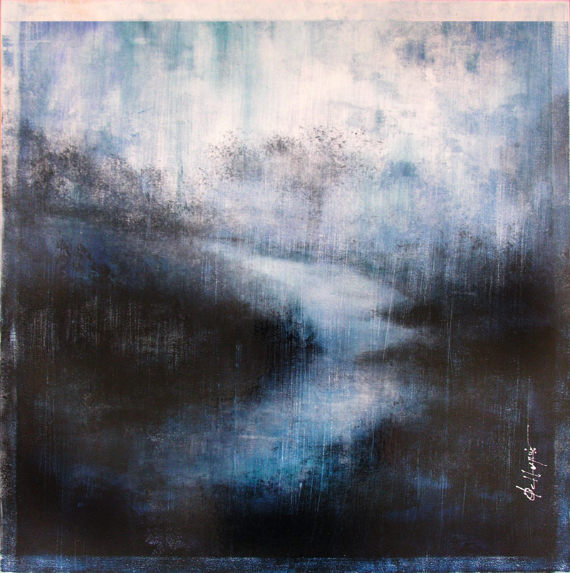 Galerie d 39 art courtemanche fran ois haguier peintre abstrait for Tableau bleu et gris